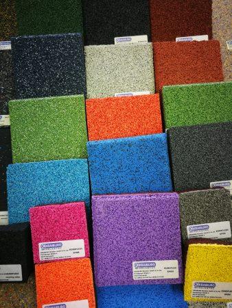 Kraiburg podlaga, barvna talna obloga, EPDM gumijasta talna obloga za šport, fitnes tla, športni pod